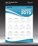 Calendário de mesa 2019 vertical da polegada do tamanho 6x8 do ano ilustração do vetor