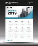Calendário de mesa 2019 vertical da polegada do tamanho 6x8 do ano, começo domingo da semana ilustração royalty free