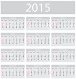 Calendário de Minimalistic 2015 Imagens de Stock Royalty Free