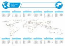 Calendário de mundo 2020 do negócio no tema azul Imagem de Stock Royalty Free