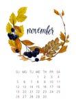 Calendário de novembro Imagens de Stock