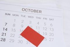 Calendário de outubro com nota vazia fotografia de stock