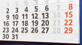 Calendário de parede - mês Imagem de Stock