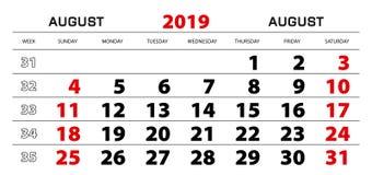 Calendário de parede 2019 para august, começo da semana de domingo ilustração do vetor
