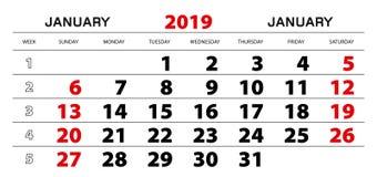 Calendário de parede 2019 para janeiro, começo da semana de domingo ilustração do vetor