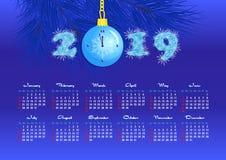 Calendário de parede por 2019 anos, única página, pulso de disparo da bola do Natal ilustração royalty free