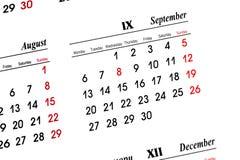 Calendário de setembro Fotos de Stock Royalty Free