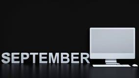 Calendário de setembro e fundo do computador - rendição 3D Fotos de Stock