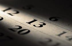 Calendário de sexta-feira 13 Fotografia de Stock