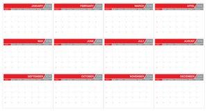 calendário de 2016 tabelas Fotografia de Stock Royalty Free