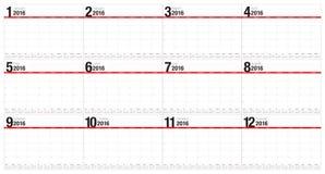 calendário de 2016 tabelas Imagens de Stock