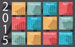 calendário de um vetor de 2015 anos Imagem de Stock Royalty Free
