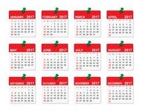 calendário de um vetor de 2017 anos Fotografia de Stock Royalty Free