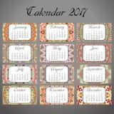 Calendário decorativo 2017 do vintage Teste padrão oriental O projeto da mandala do vetor pode ser usado para o cartaz, bandeira, Imagem de Stock