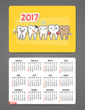 Calendário dental 2017 do bolso Fotos de Stock Royalty Free
