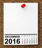 Calendário dezembro de 2016 rendição 3d ilustração do vetor