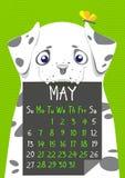 Calendário digital simples do cão para maio de 2018 ilustração royalty free