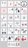 Calendário do advento com ilustrações do Natal ilustração do vetor