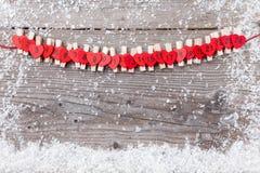 Calendário do advento do Natal com neve Fotografia de Stock Royalty Free