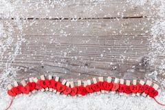 Calendário do advento do Natal com neve Fotografia de Stock