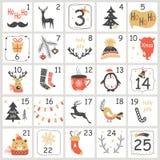 Calendário do advento do Natal com elementos tirados mão Cartaz do Xmas Fotografia de Stock