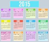 Calendário do ano 2015 Fotos de Stock Royalty Free