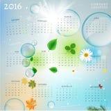 Calendário 2016 do ano Fotografia de Stock