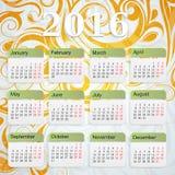 Calendário do ano 2016 Foto de Stock Royalty Free