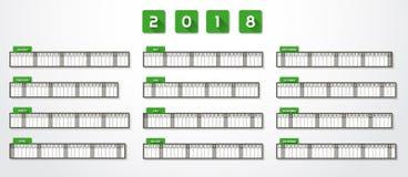 Calendário 2018 do ano Fotos de Stock