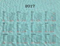Calendário do ano 2017 - Espanha com fundo do mar fotos de stock