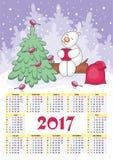 Calendário 2017 do ano novo Foto de Stock Royalty Free