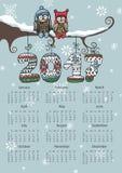 Calendário 2017 do ano novo Pares da coruja, números de confecção de malhas ilustração royalty free