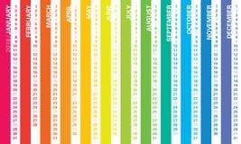 Calendário 2018 do arco-íris foto de stock
