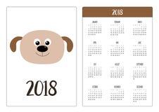 Calendário do bolso 2018 anos A semana começa domingo Cachorrinho do cão Cabeça engraçada da cara Personagem de banda desenhada b Fotografia de Stock Royalty Free