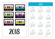 Calendário do bolso 2018 anos A semana começa domingo Gaveta de cassete áudio plástica Grupo retro do ícone da música Elemento da ilustração do vetor