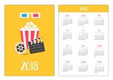 Calendário do bolso 2018 anos A semana começa domingo vidros 3D azuis vermelhos de papel Abra o ícone do filme do cinema da pipoc ilustração stock