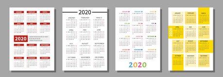 Calendário 2020 do bolso ilustração do vetor