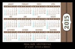 Calendário 2015 do bolso, vetor, começo em domingo Fotos de Stock