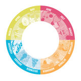Calendário do círculo com imagens Imagens de Stock