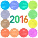 Calendário do círculo por 2016 anos ilustração royalty free