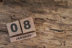 Calendário do cubo para janeiro no fundo de madeira Imagem de Stock Royalty Free
