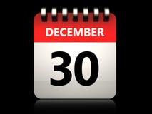 calendário do 30 de dezembro 3d Fotos de Stock Royalty Free