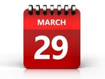 calendário do 29 de março 3d Fotos de Stock Royalty Free