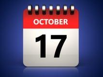 calendário do 17 de outubro 3d Imagens de Stock