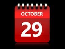 calendário do 29 de outubro 3d Fotos de Stock