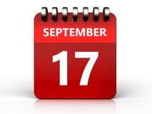 calendário do 17 de setembro 3d Fotos de Stock