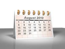 Calendário do Desktop (3D). Agosto, 2010. Fotografia de Stock Royalty Free