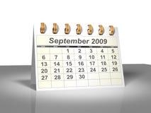 Calendário do Desktop (3D). Setembro, 2009. Imagens de Stock Royalty Free