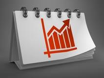 Calendário do Desktop com carta de crescimento. Fotografia de Stock