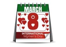 Calendário do Desktop com a data do 8 de março O dia das mulheres internacionais ilustração do vetor